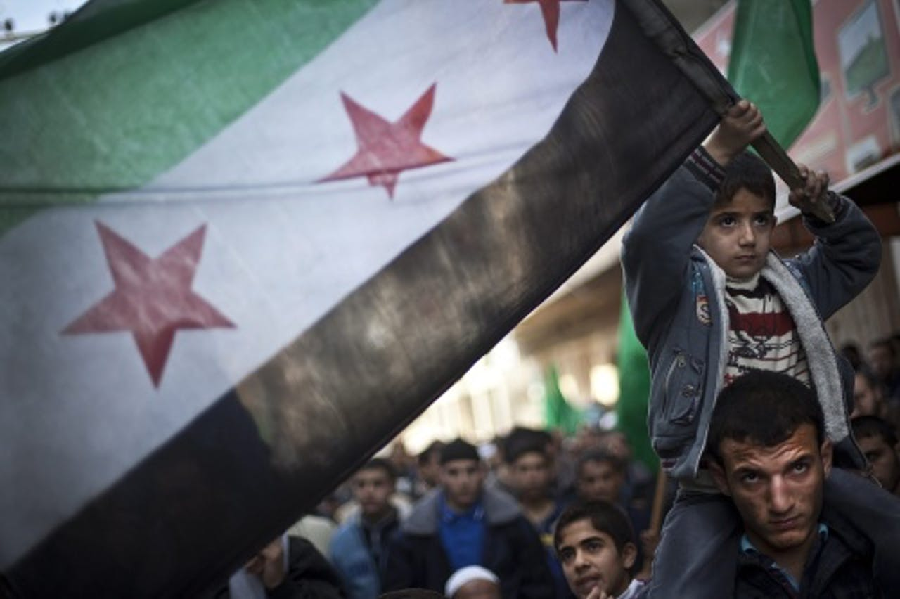 Archiefbeeld van de Syrische vlag. EPA