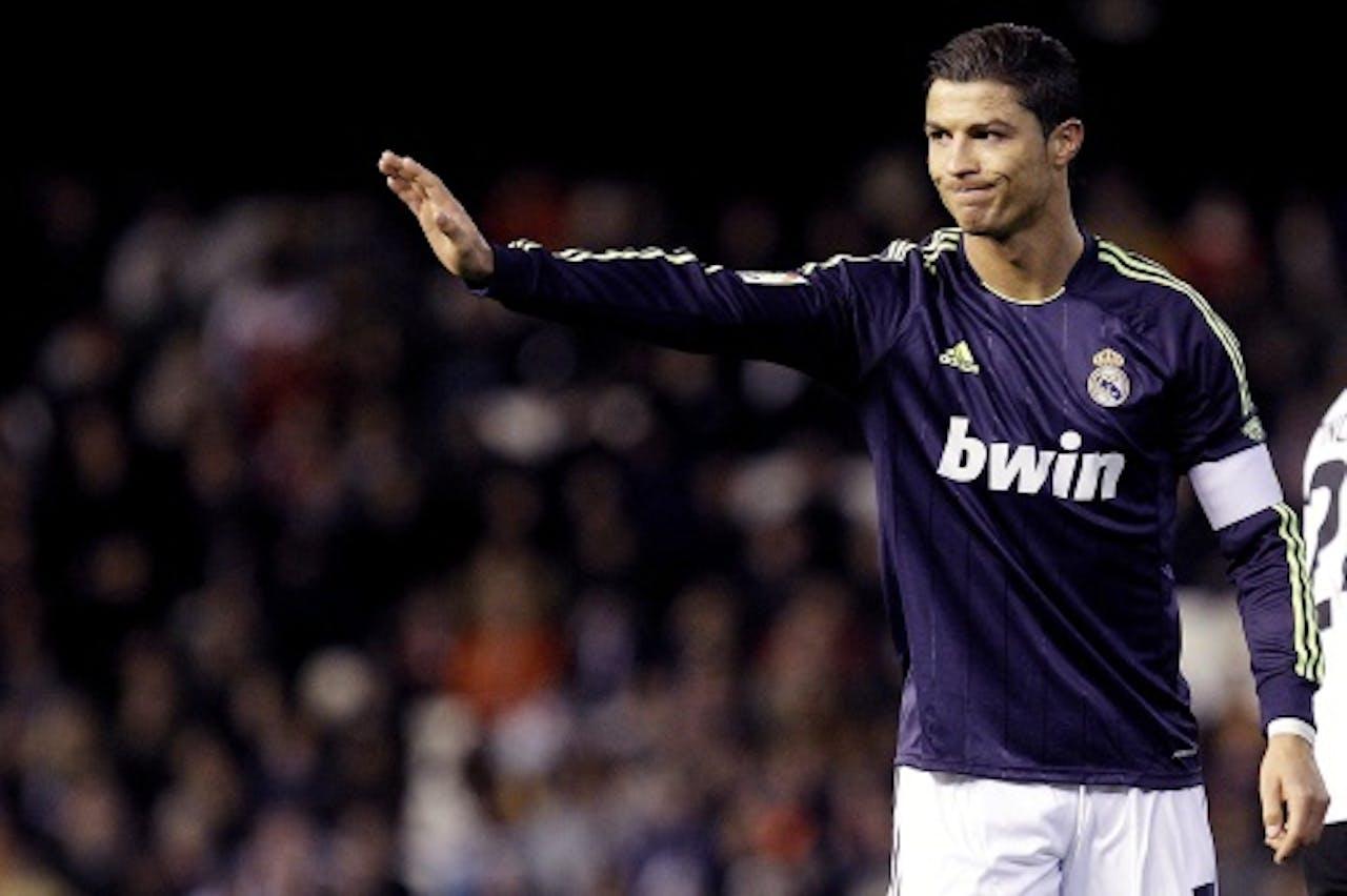 Cristiano Ronaldo van Real Madrid tijdens het duel met Valencia. EPA