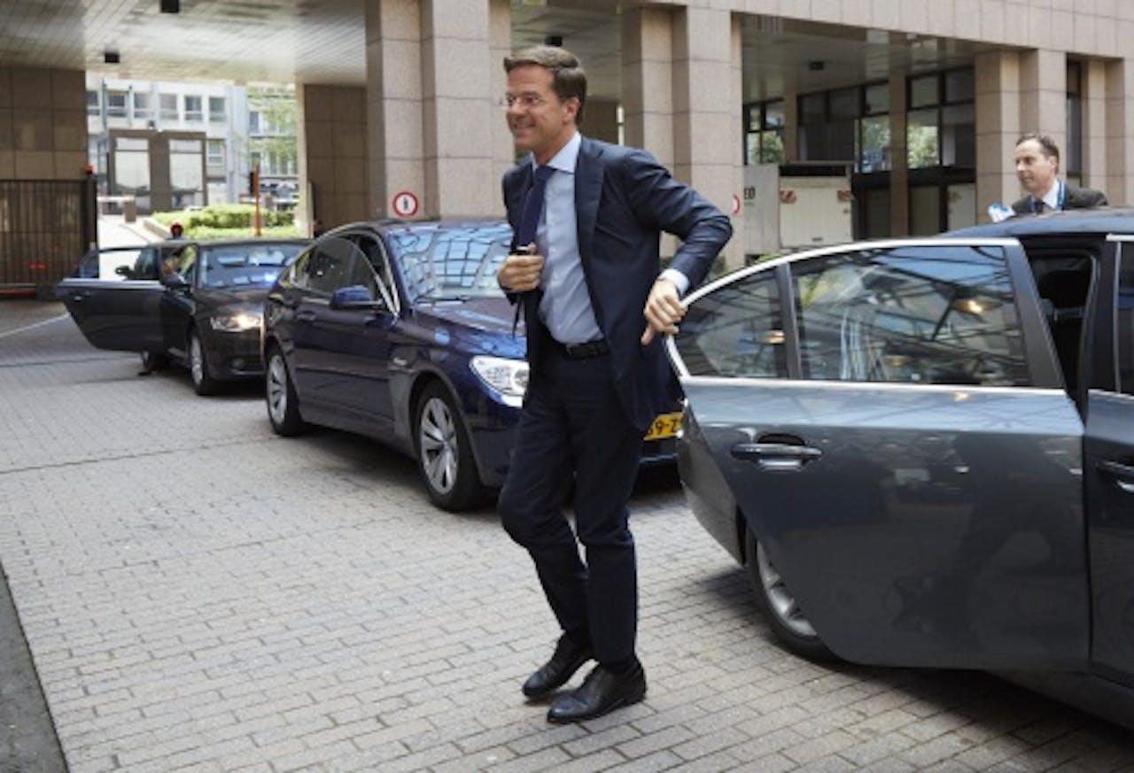 Mark Rutte komt aan bij EU top in Brussel. ANP