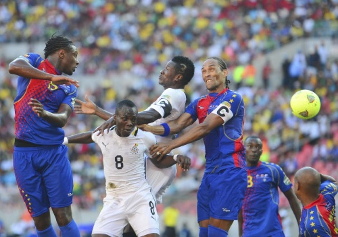 Ghana (wit) won met 2-0 van Kaapverdië. EPA