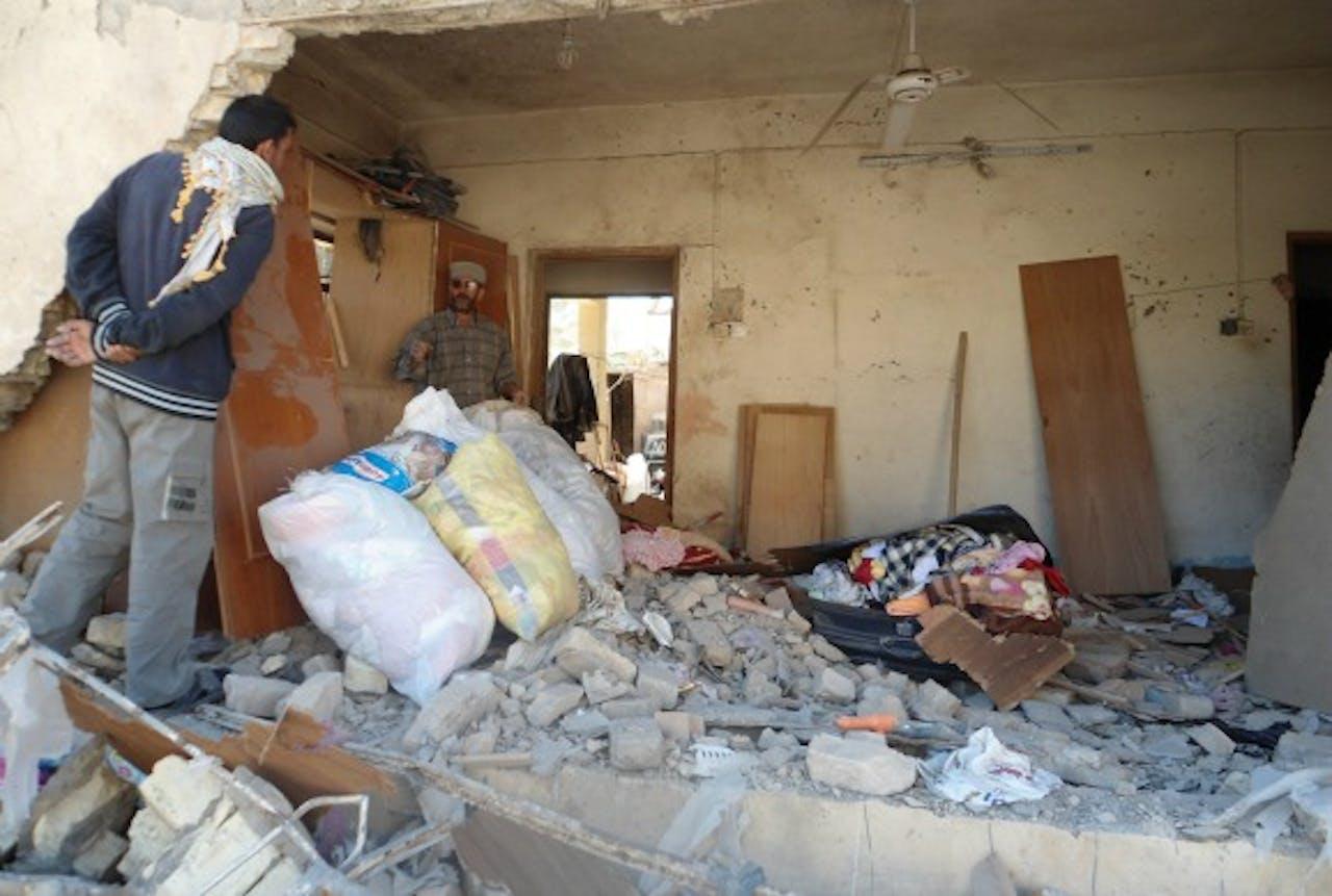 De gevolgen van een bomexplosie in Baquba in maart