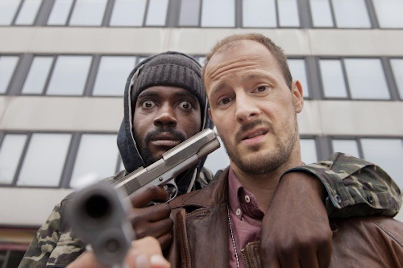 Acteurs Sergio Hasselbaink (links) en Huub Smit (rechts) tijdens de opnames van de televisieserie Popoz. ANP Kippa