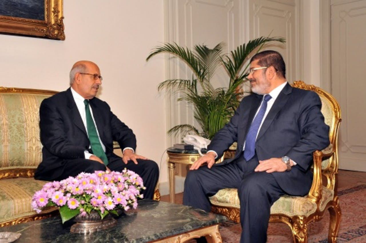 Mohamed ElBaradei (L). EPA