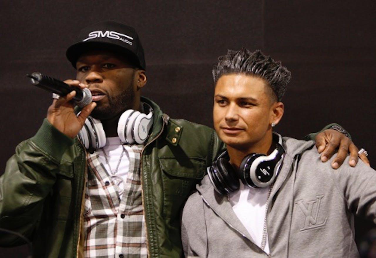 Pauly D (R) met rapper 50 Cent. EPA