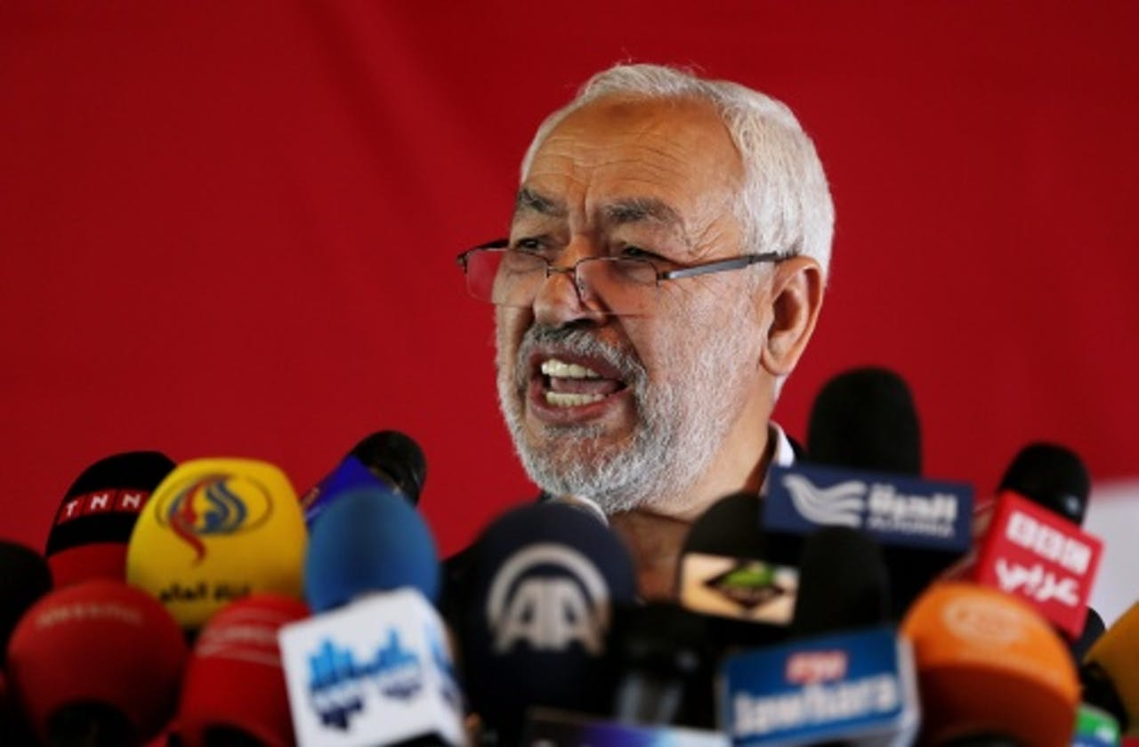 Tunesische leider van de Islamitische partij Ennahda, Rached Ghannouchi. EPA
