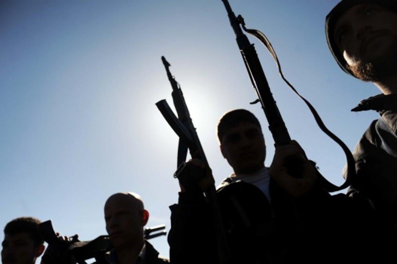 De leden van het Vrije Syrische leger (FSA) in Ildib in het noordwesten van Syrie.