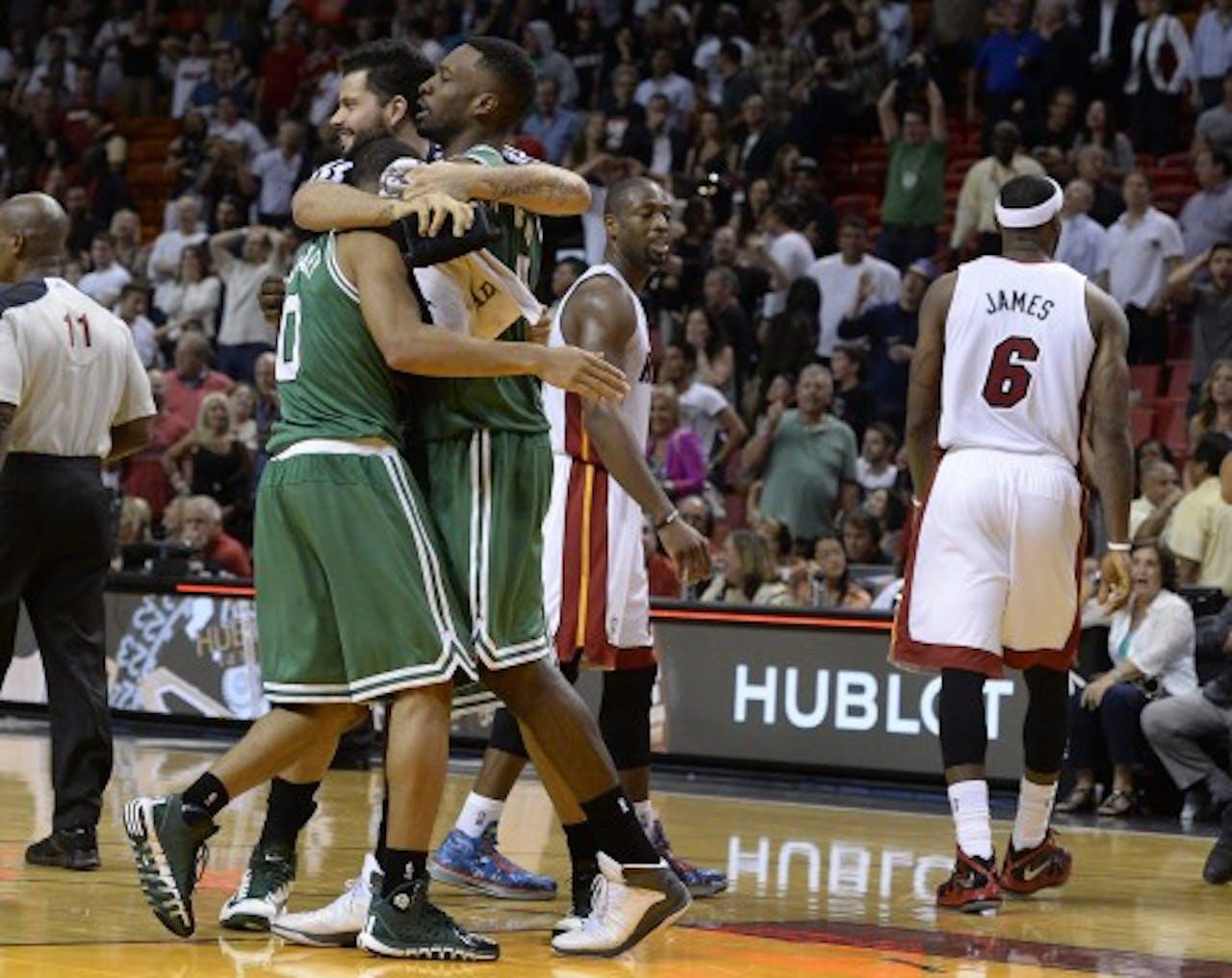 Miami Heat na de nederlaag tegen Boston Celtics. EPA