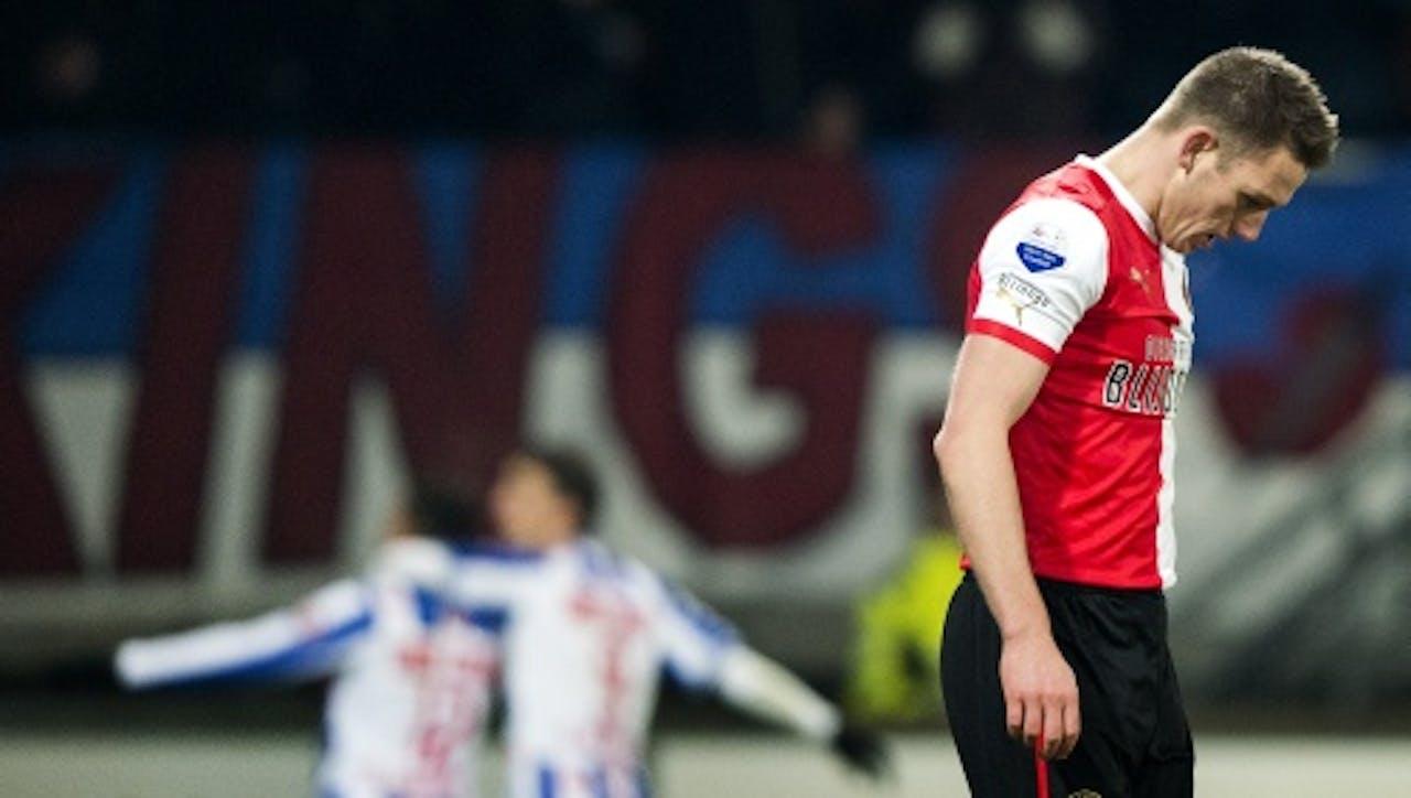 Stefan de Vrij van Feyenoord baalt na de 2-0 van sc Heerenveen, ANP