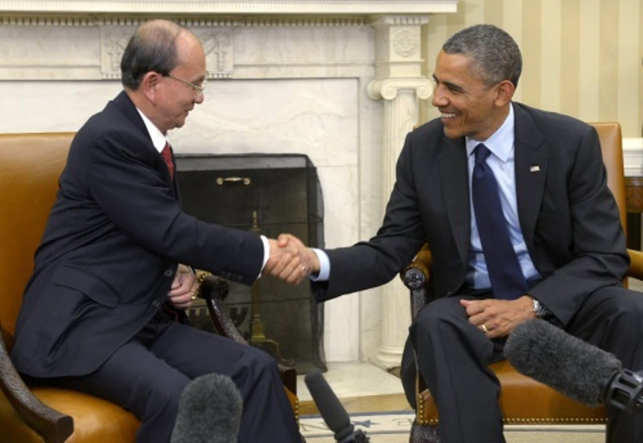 De Amerikaanse president Barack Obama en Myanmar president Thein Sein