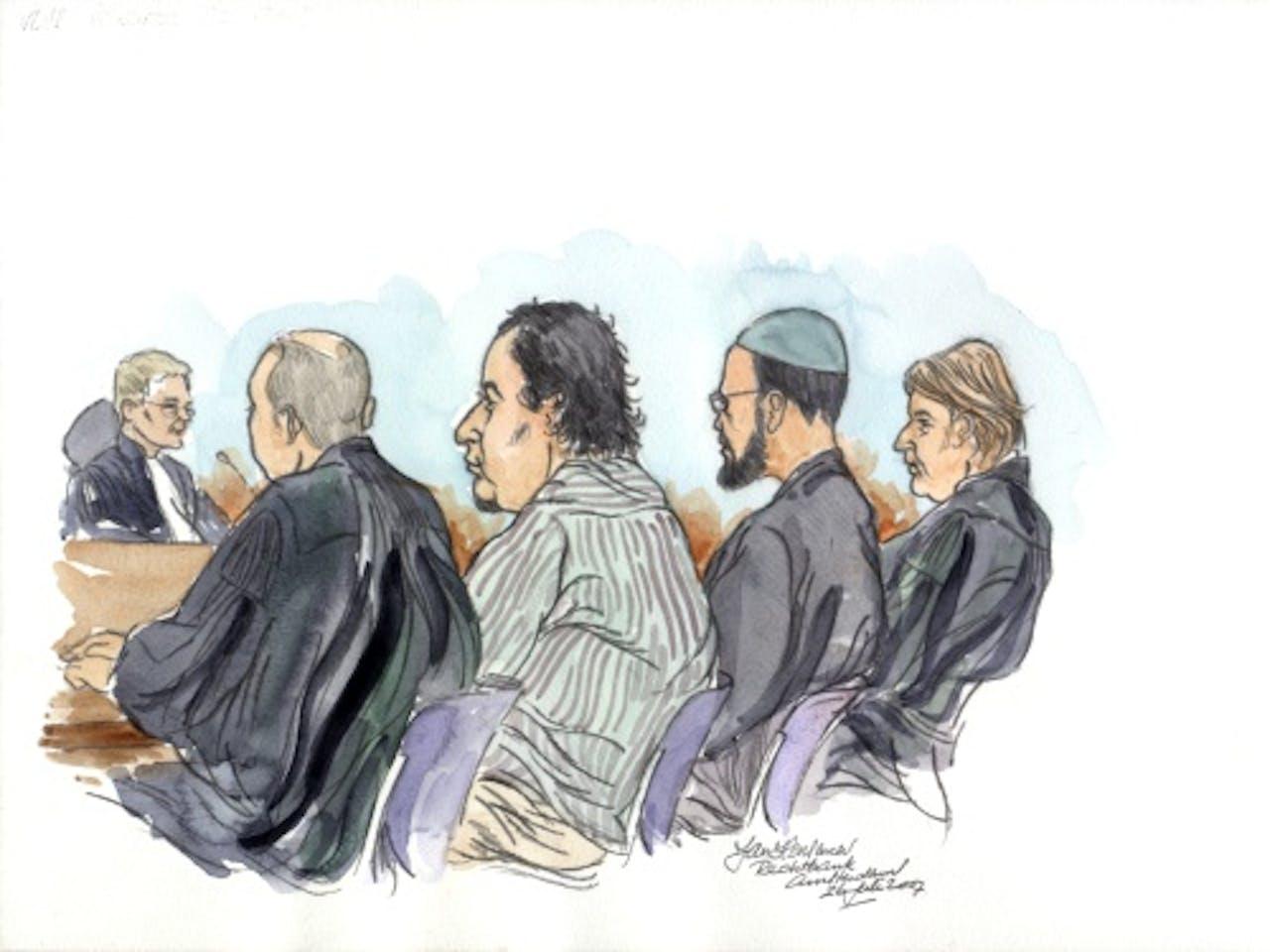 Rechtbanktekening met Jason W. (tweede van rechts). ANP