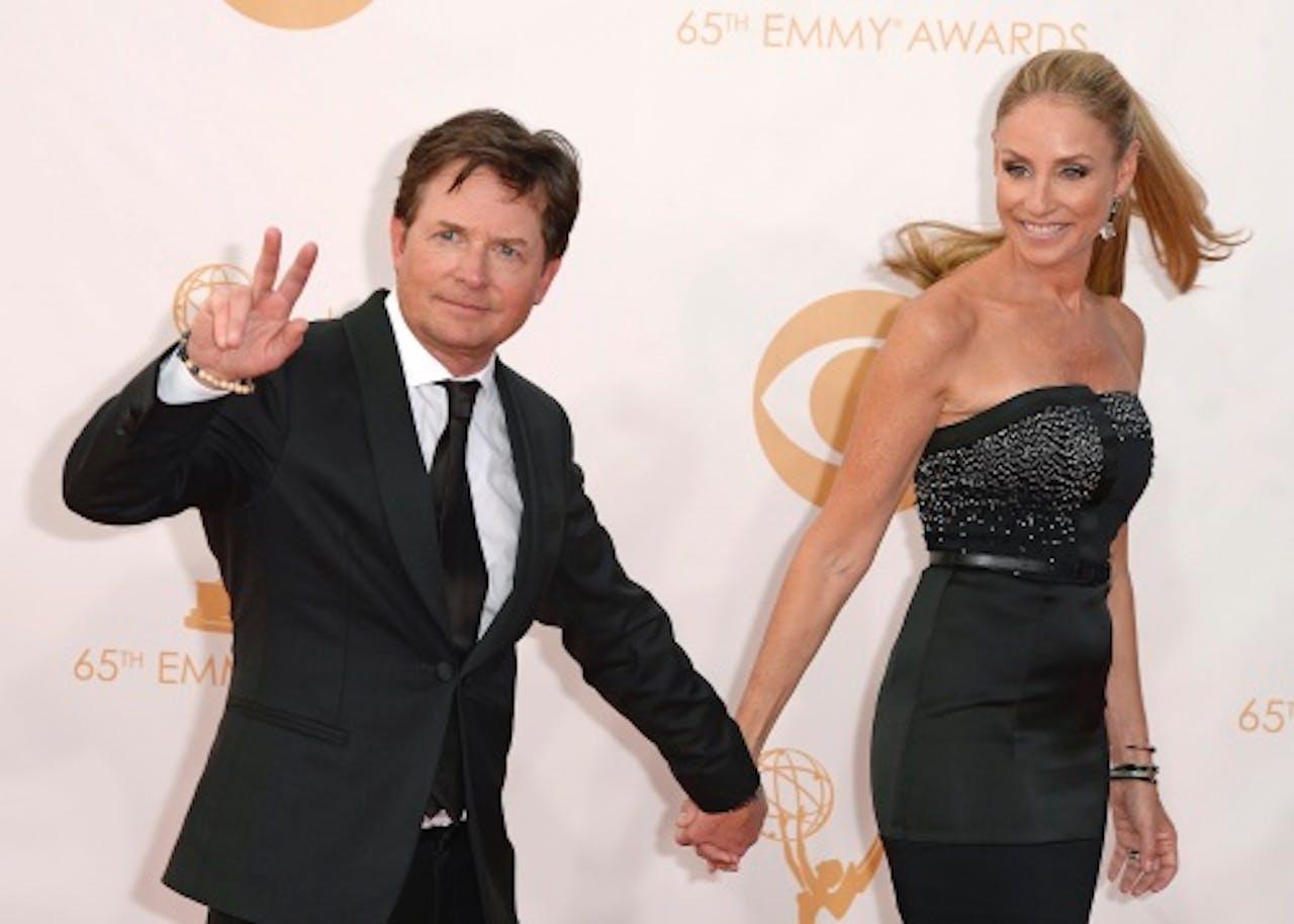 Michael J Fox en zijn vrouw Tracey Pollan. EPA