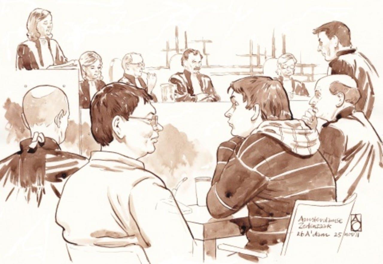 Robert M. op de tekening als derde van links. ANP