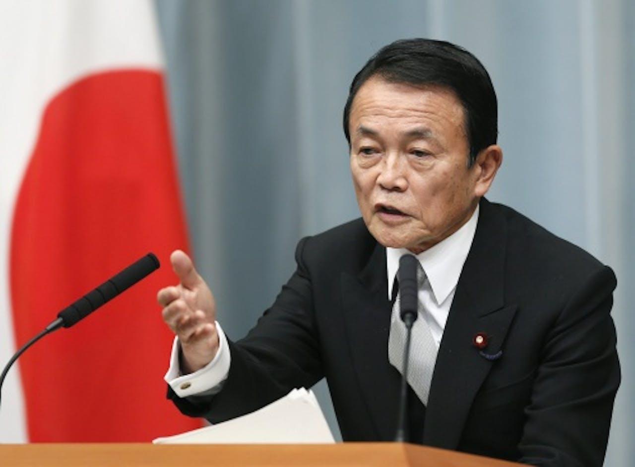 De Japanse minister van Financiën Taro Aso. EPA