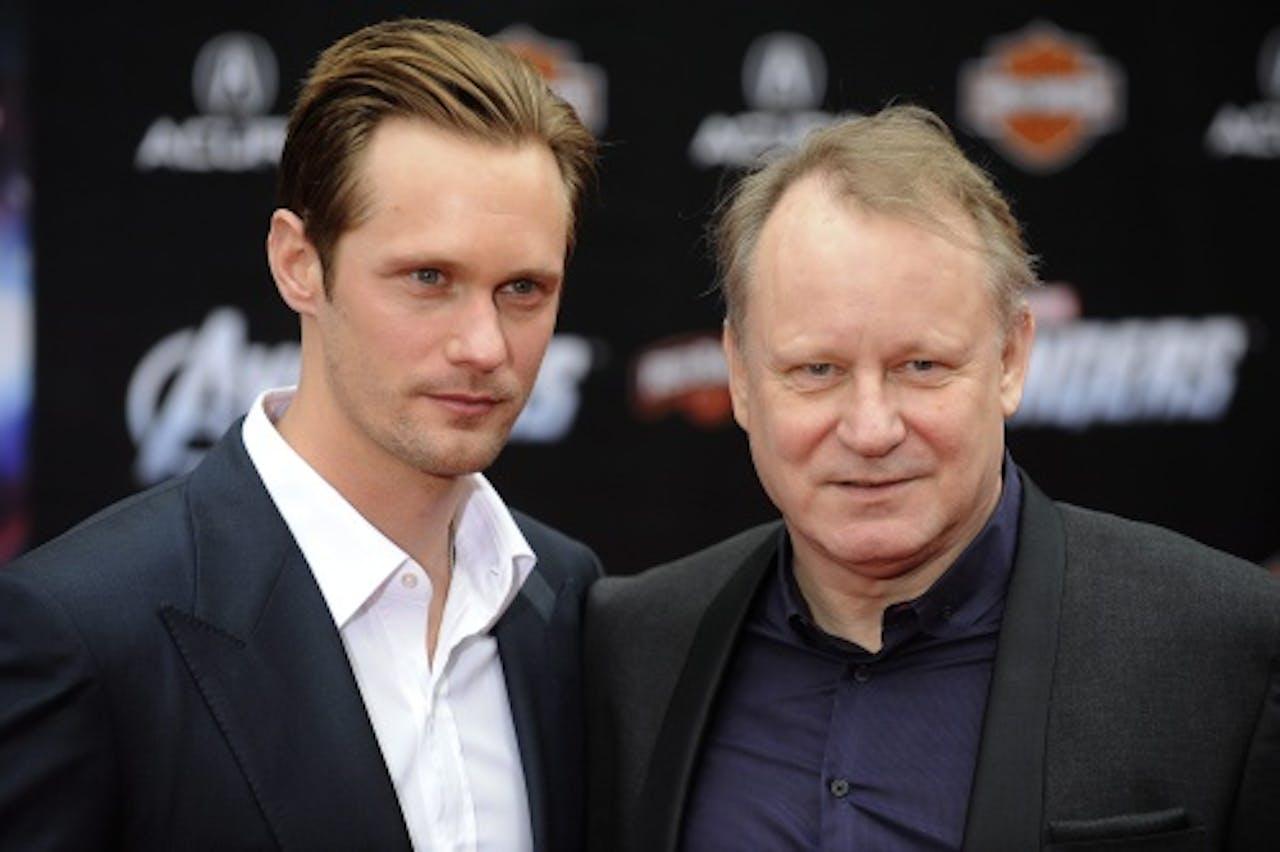 Stellan (R) met zijn acterende zoon Alexander (L). EPA