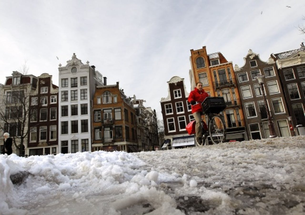 Sneeuw in Amsterdam. ANP