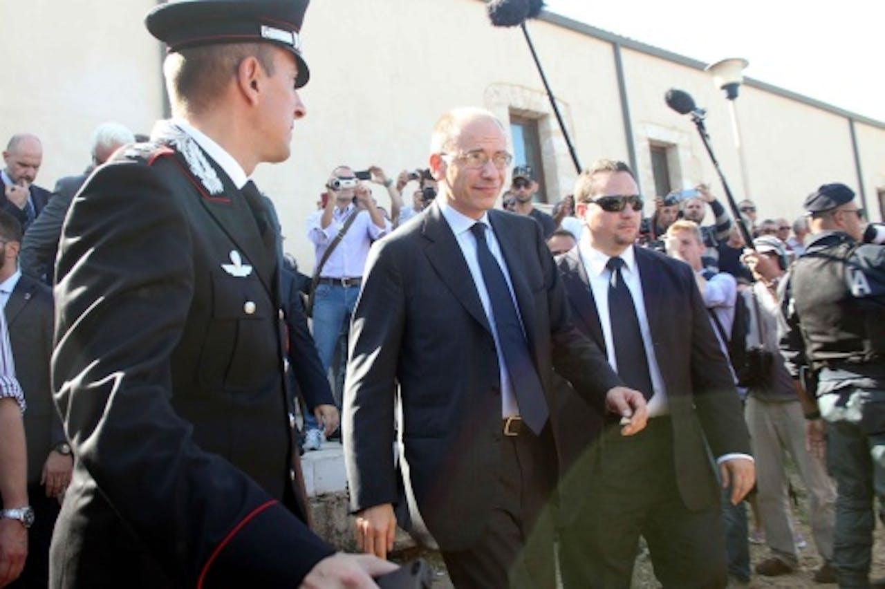 Enrico Letta bezoekt woensdag de slachtoffers van de scheepsramp. EPA