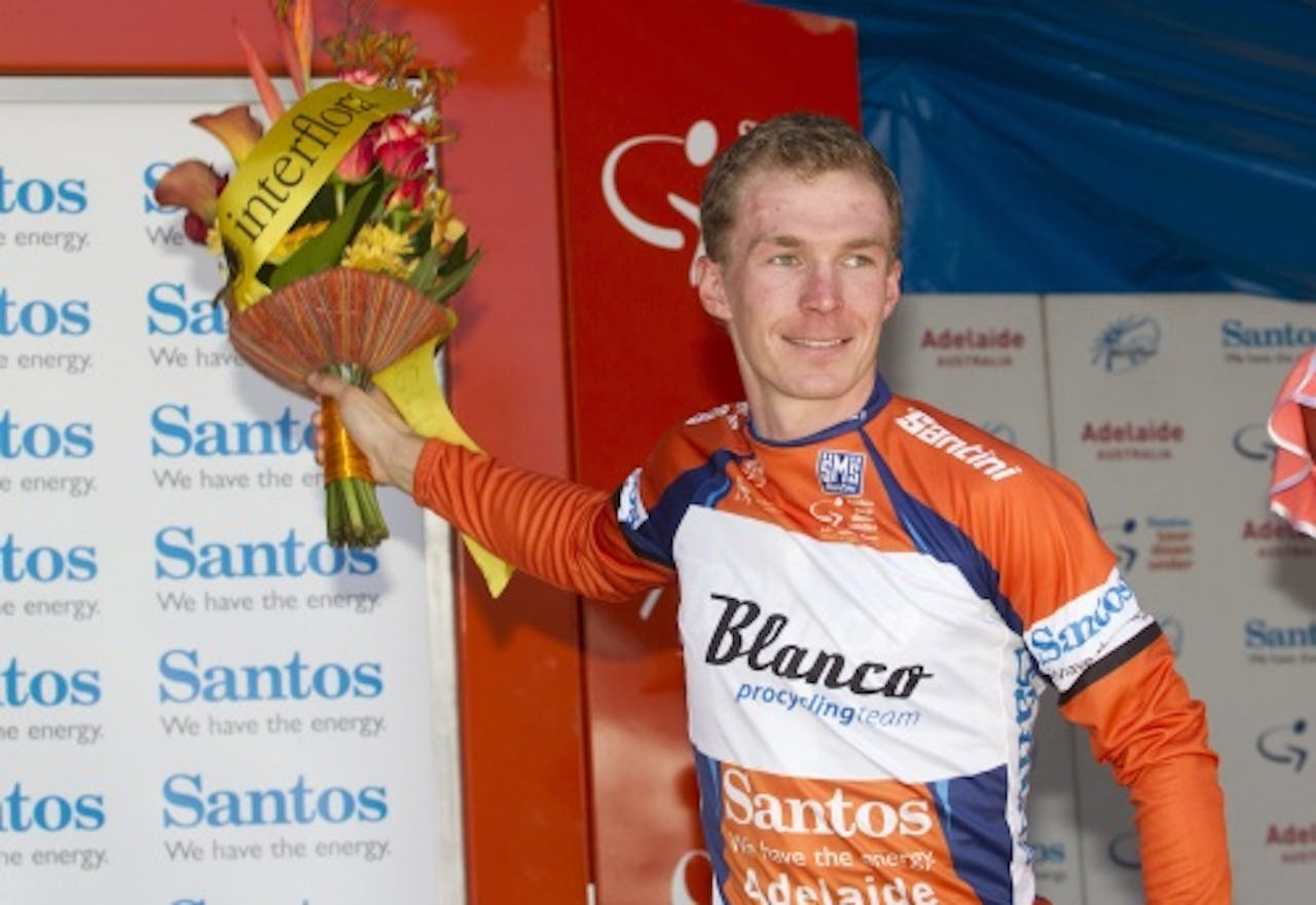 Tom-Jelte Slagter na de Tour Down Under. EPA