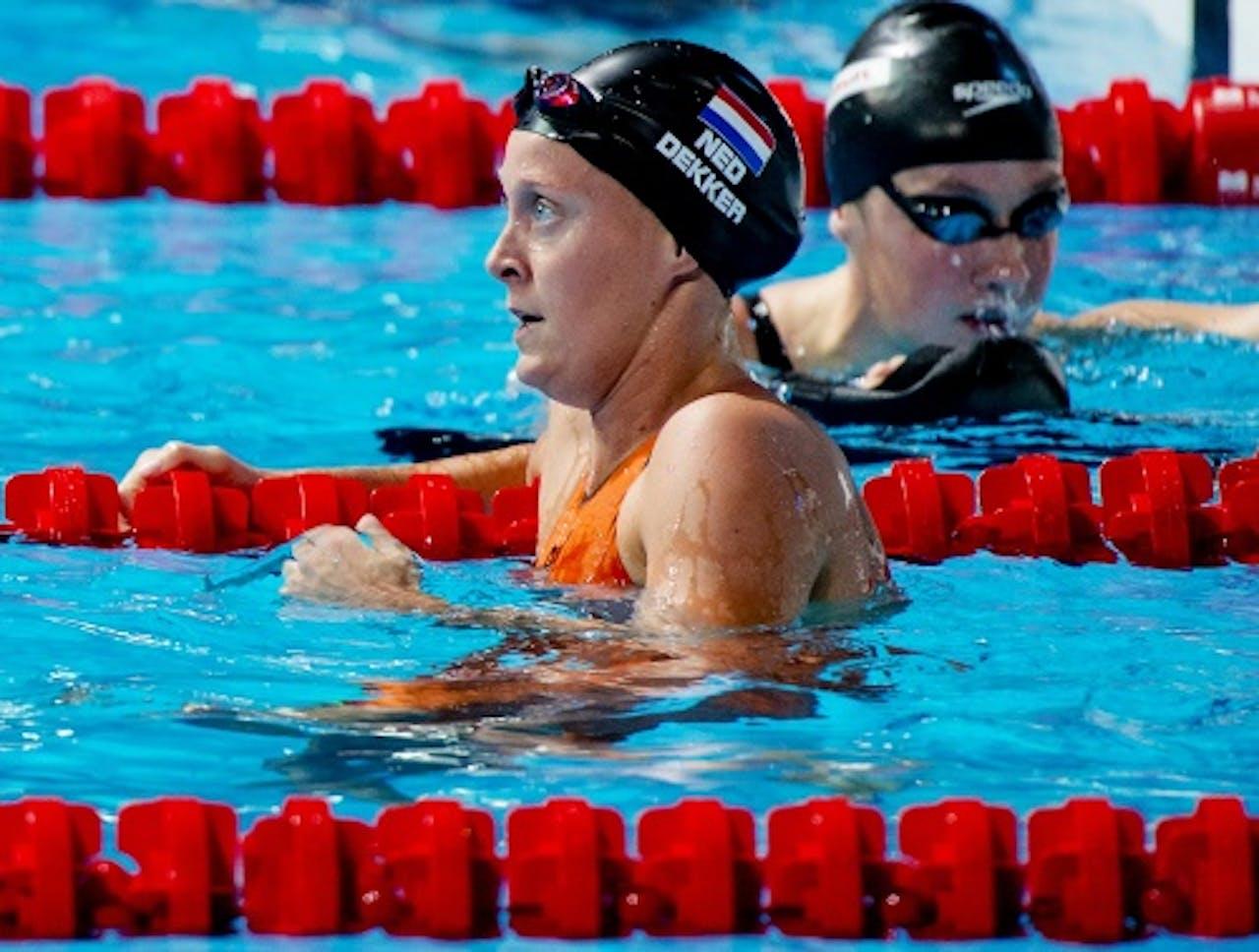Inge Dekker in actie tijdens de semi finale van de 50 meter vlinderslag tijdens het WK zwemmen in Barcelona, ANP