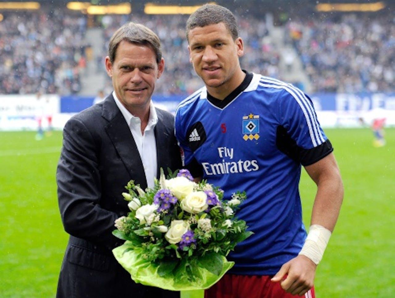 Jeffrey Bruma bij zijn afscheid van Hamburger SV. EPA
