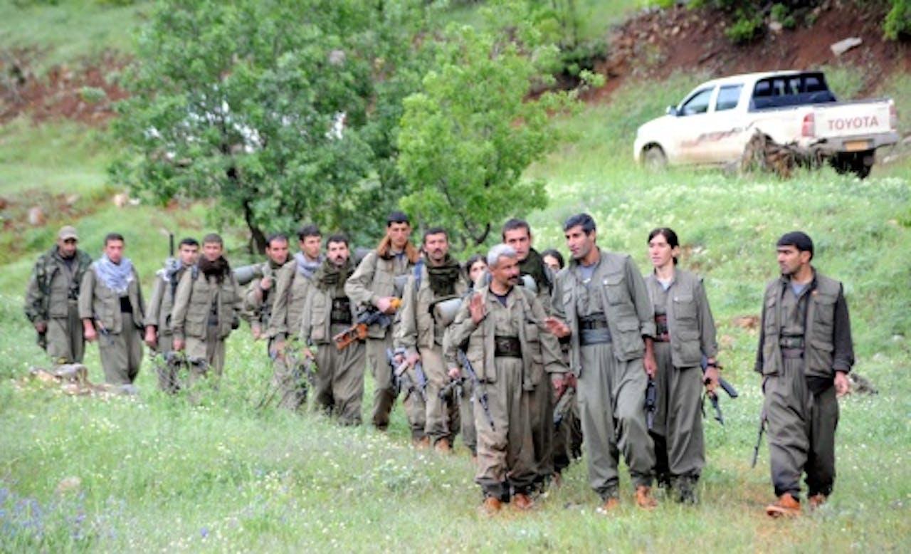 PKK militairen die zich terugtrekken uit Turkije. EPA