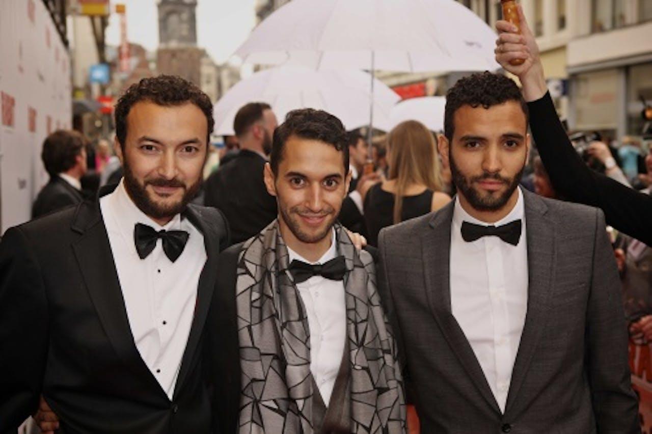 Nasrdin Dchar, Achmed Akkabi en Marwan Kenzari (VLNR) op de galapremiere van de Nederlandse speelfilm Rabat. Archieffoto: ANP Kippa