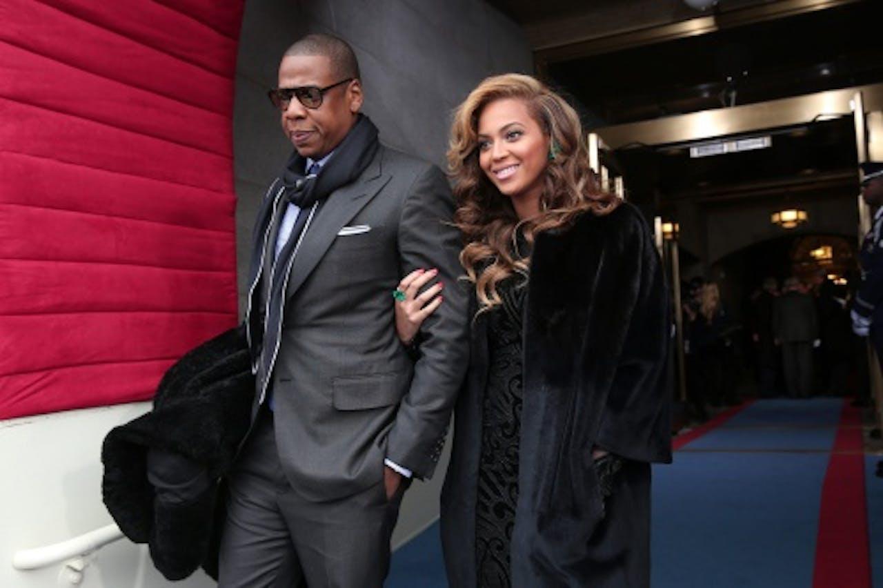 Jay-Z met zijn vrouw Beyoncé. EPA