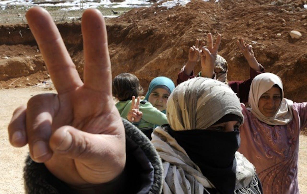 Syrische vluchtelingen uit Qusair. EPA