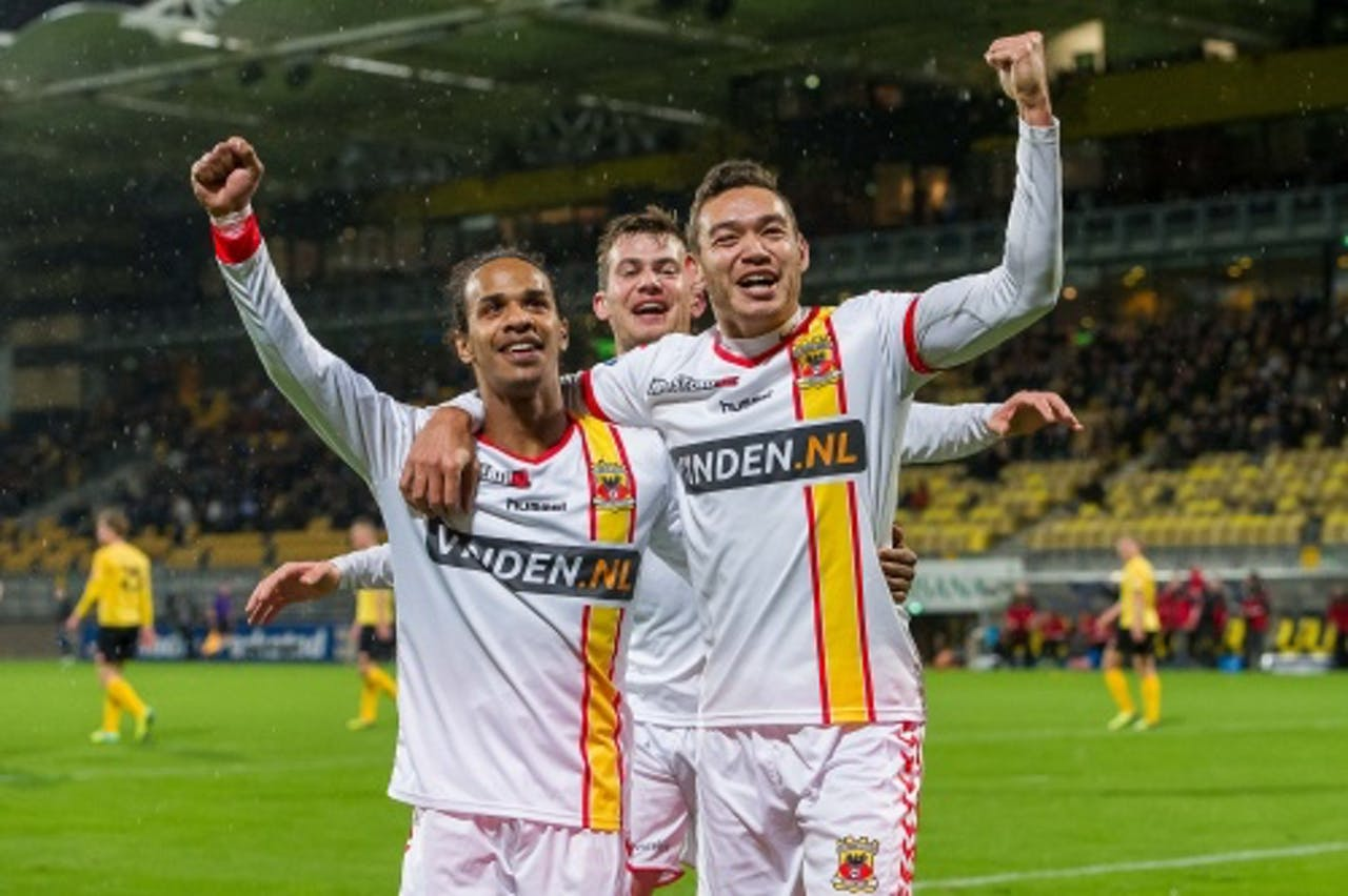 Xander Houtkoop, Jarchinio Antonia en Erik Falkenburg van Go Ahead Eagles juichen na de 1-3 tegen Roda JC. ANP PRO SHOTS