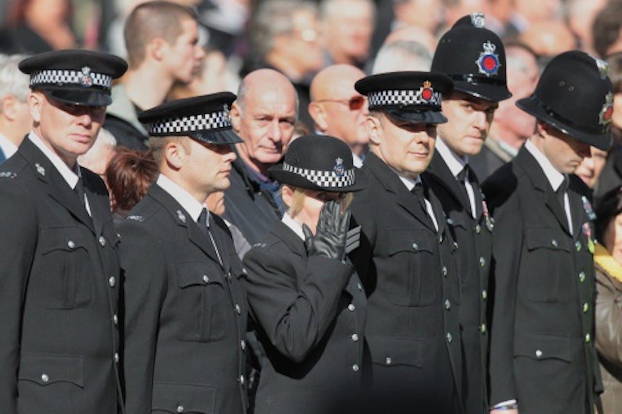 Begrafenis politievrouw Nicola Hughes. EPA