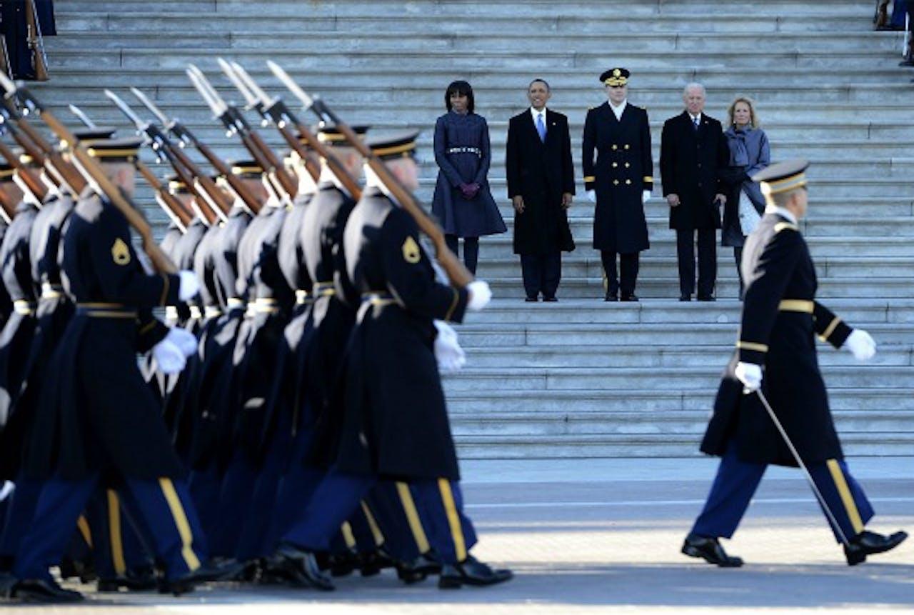 Een optocht met Amerikaanse troepen na de inauguratie van president Obama.