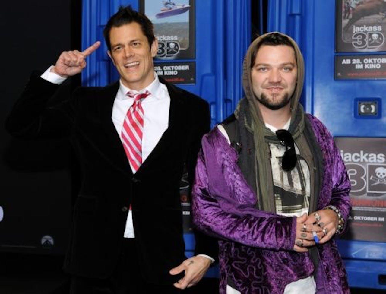 Bam Margera (R) en Jackass-collega Johnny Knoxville. EPA