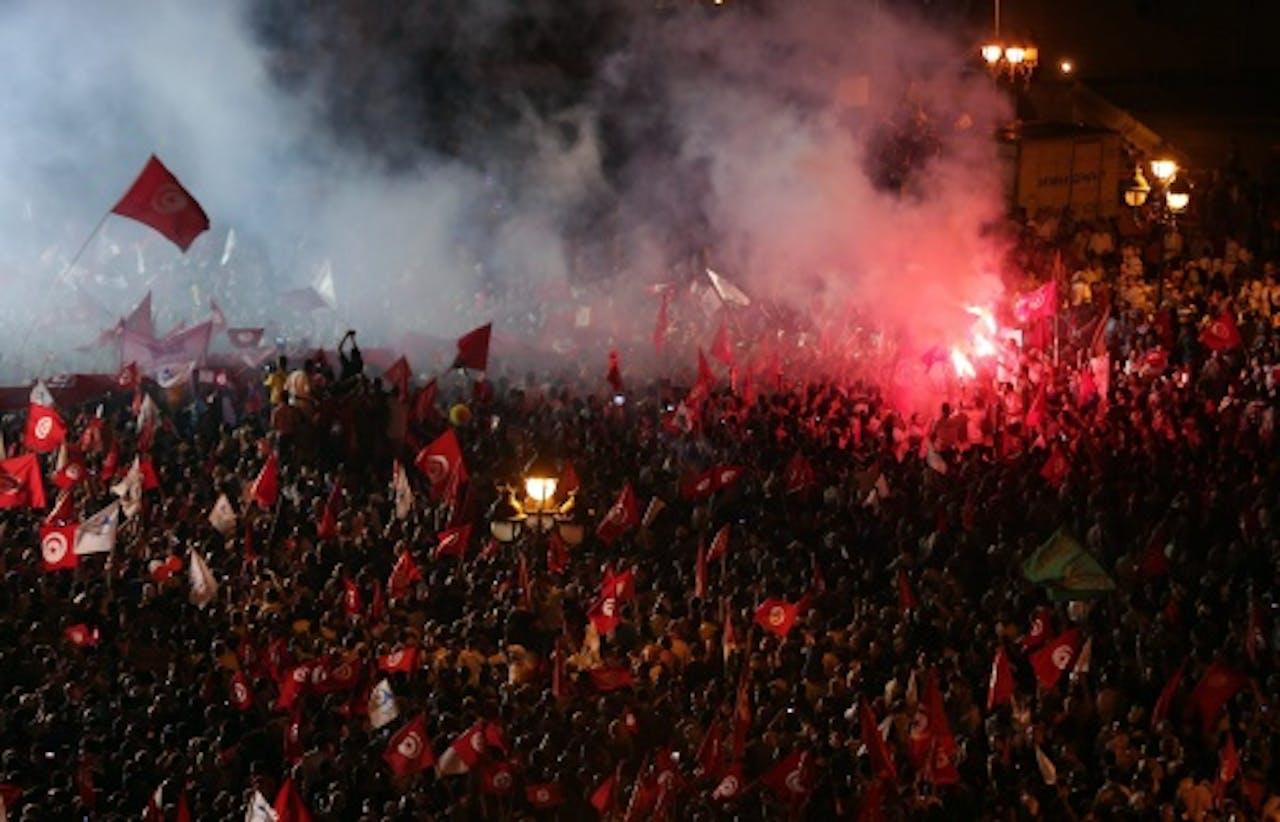 Demonstratie in Tunis. EPA