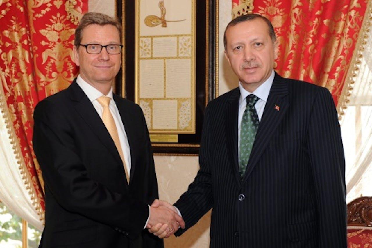 Guido Westerwelle en Recep Tayyip Erdogan (R). EPA