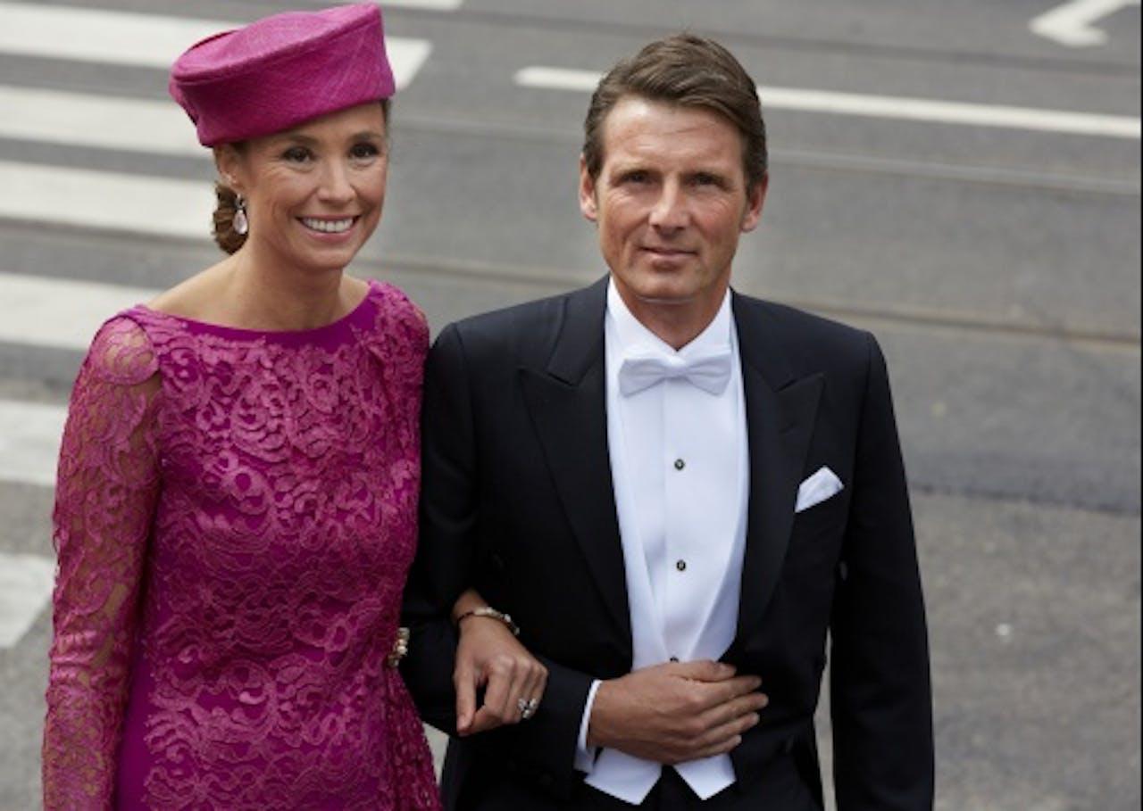 Prins Maurits en prinses Marilène arriveren bij de Nieuwe Kerk in Amsterdam voor de inhuldiging van koning Willem-Alexander. ANP