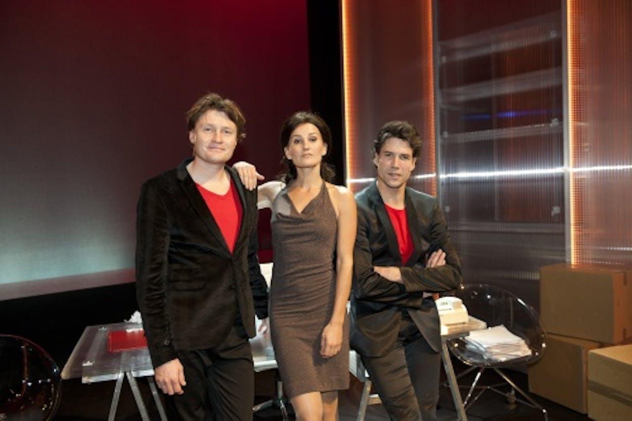 Peggy Vrijens met Harpert Michielsen en Daniel Boissevain tijdens de theatervoorstelling Haantjes. ANP Kippa