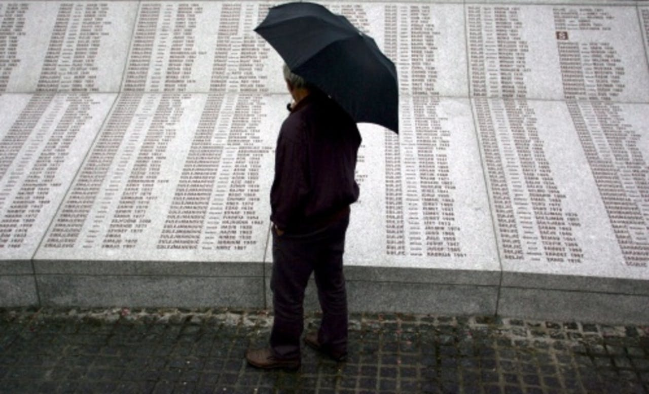 De namen van de Srebrenica-slachtoffers. EPA