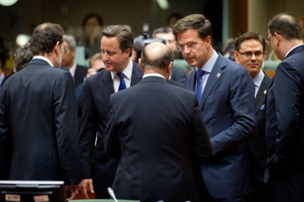 Europese leiders voor aanvang van de EU-top over de economische crisis. ANP