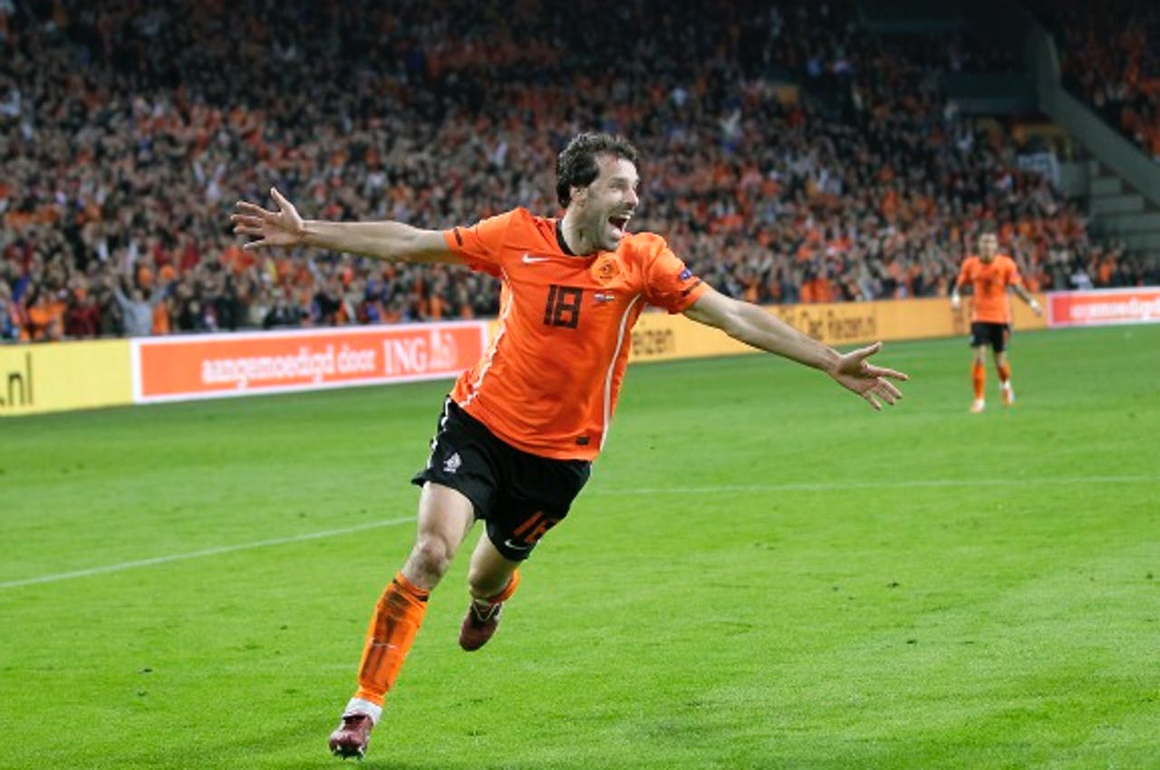 Eén van zijn 35 goals bij het Nederlands Elftal