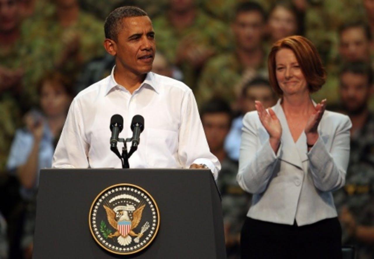 Barack Obama tijdens zijn bezoek aan Australië. EPA