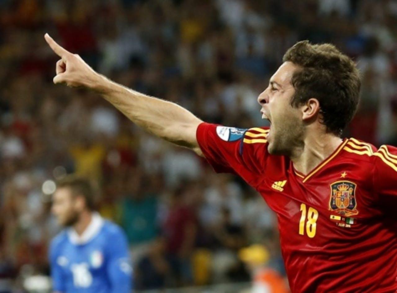Jordi Alba van Spanje viert zijn 2-0 tegen Italië. EPA