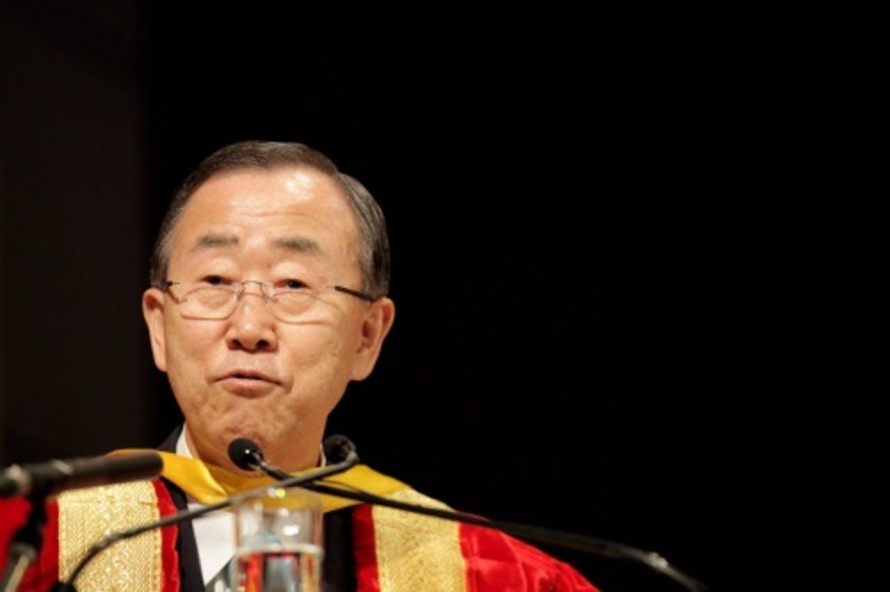 Ban Ki-moon bij zijn bezoek aan India. EPA