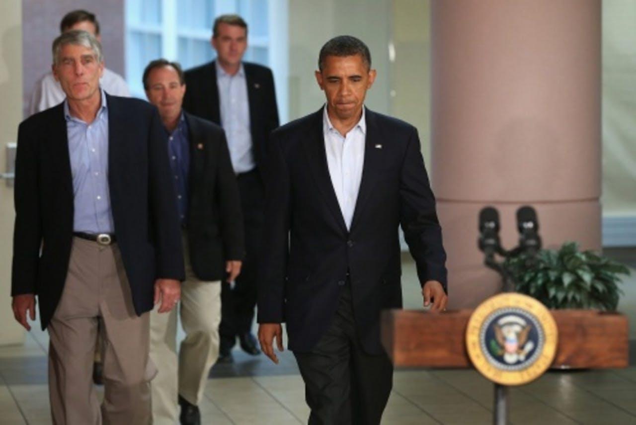President Barack Obama geeft een toespraak in Aurora. EPA