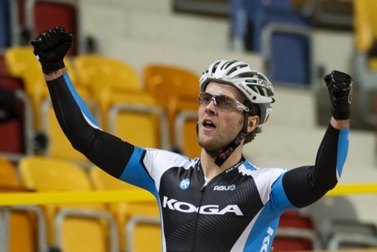 Teun Mulder tijdens het NK baan wielrennen (archieffoto, december 2011). ANP