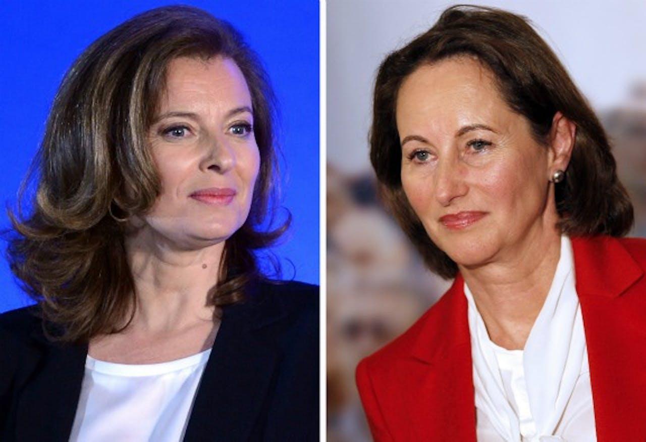 Links (vriendin): Valérie Trierweiler. Rechts (ex): Ségolène Royal