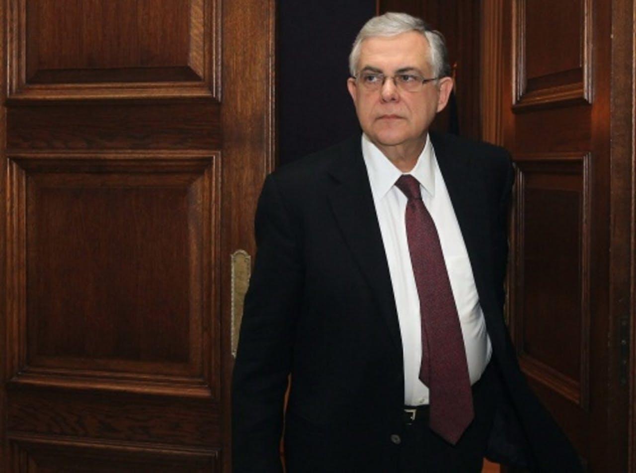 Griekse premier Lucas Papademos. EPA