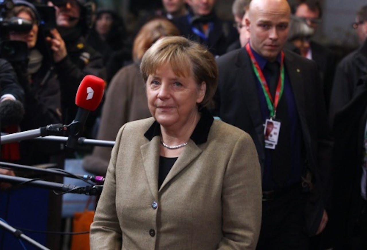 Angela Merkel op de EU-top. EPA