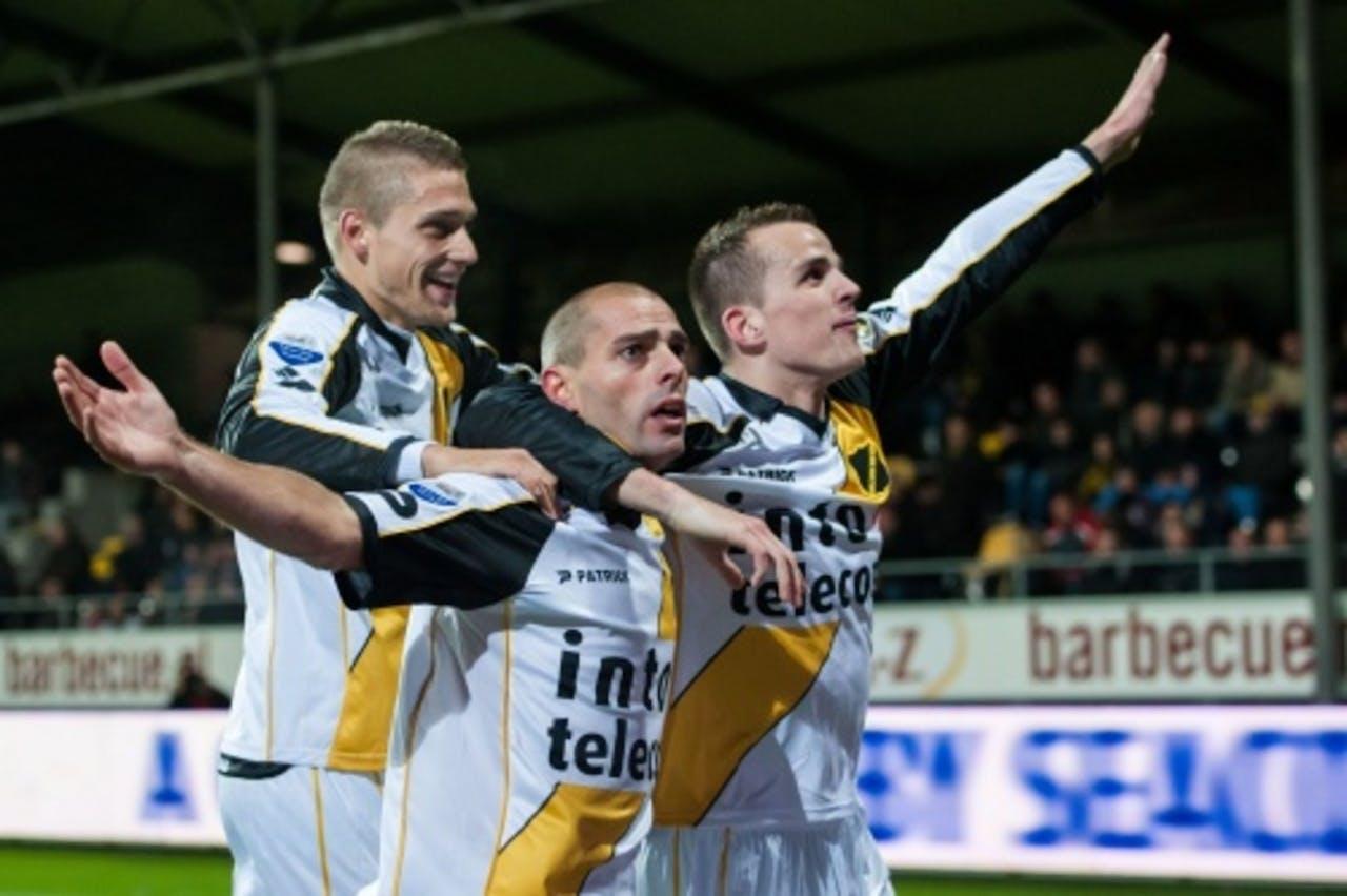 NAC-spelers Jens Janse, Anthony Lurling en Mats Seuntjens juichen tijdens de wedstrijd tegen VVV. ANP