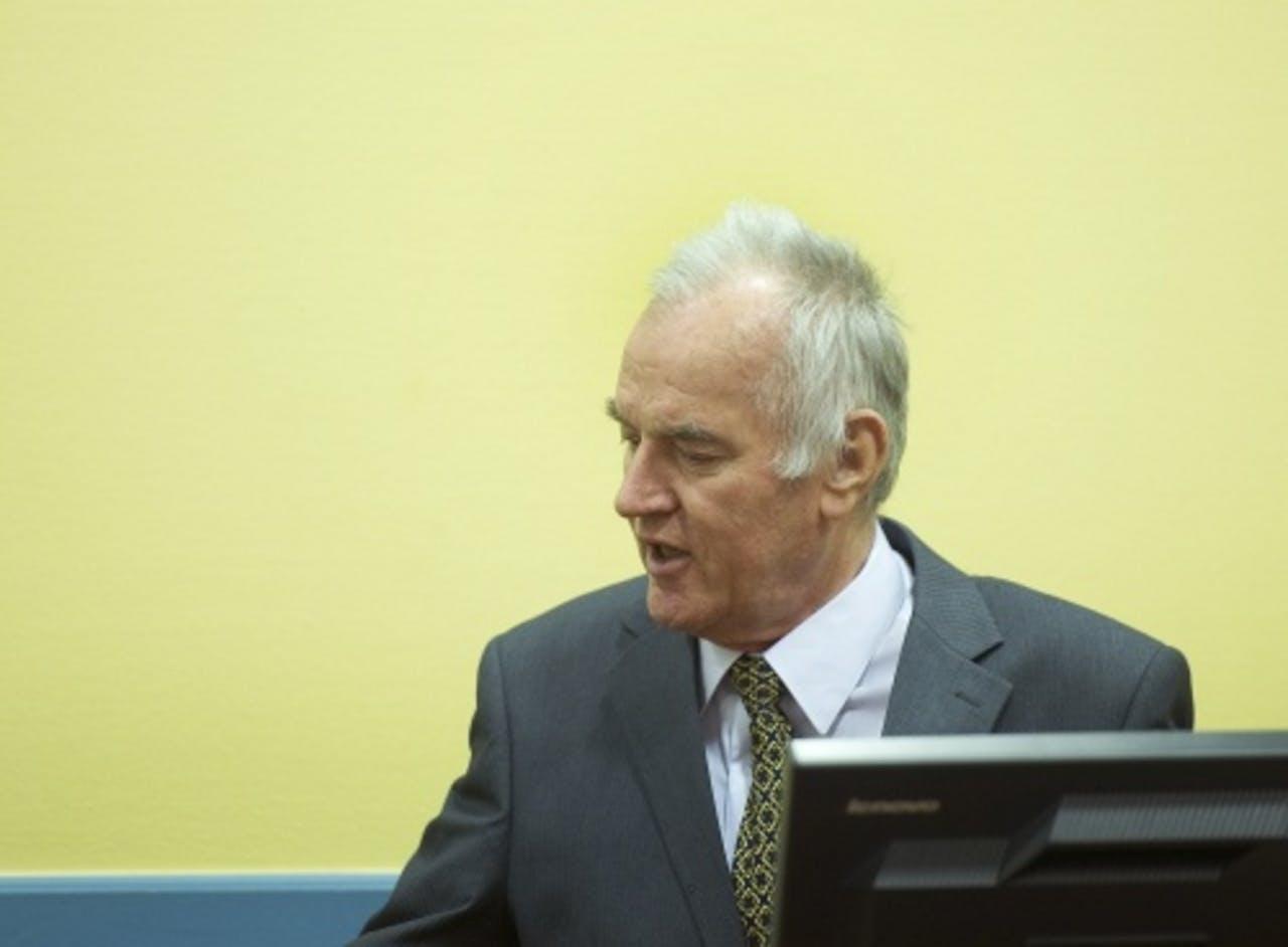 Ratko Mladic op de eerste dag van zijn proces. ANP