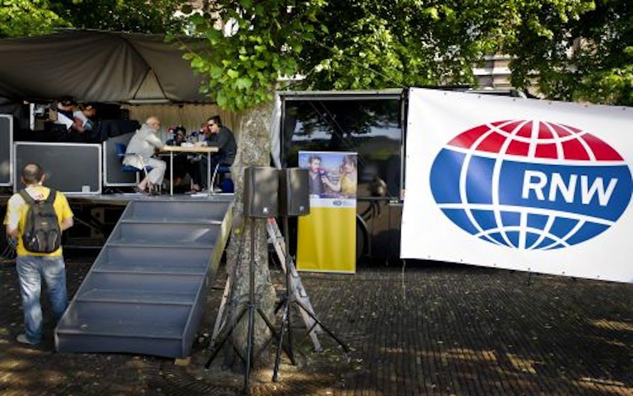 Medewerkers van Radio Nederland Wereldomroep voeren actie in Den Haag. ANP
