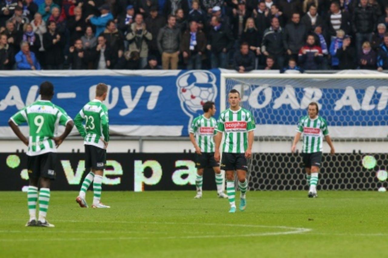 De spelers van PEC Zwolle balen na de 1-0 van sc Heerenveen. ANP PRO SHOTS